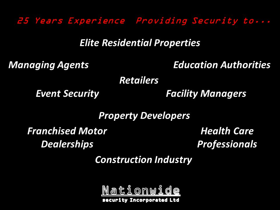 25 Years Experience Providing Security to...
