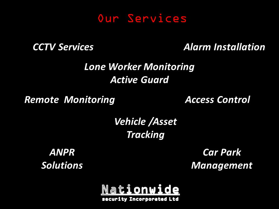 Vehicle /Asset Tracking CCTV Services Remote Monitoring Lone Worker Monitoring Active Guard Alarm Installation Car Park Management ANPR Solutions Acce