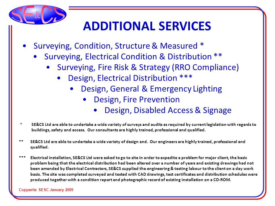 Copywrite SESC January 2009 QUALITY SERVICES