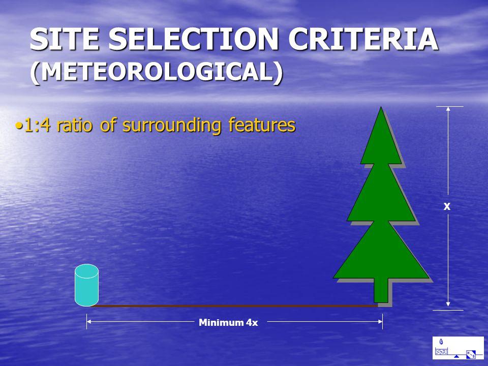 SITE SELECTION CRITERIA (METEOROLOGICAL) 1:4 ratio of surrounding features1:4 ratio of surrounding features X Minimum 4x
