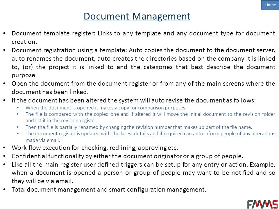 Home Project Management (PM) Project registration and complete management thereof.