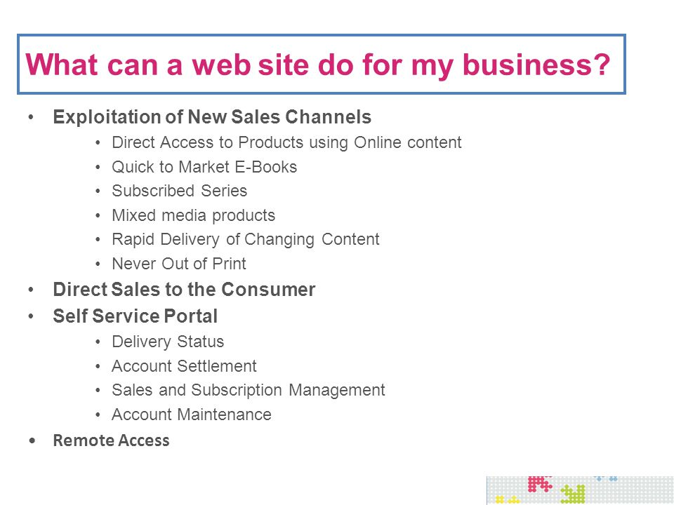 Web Enablement - Sales Bookmaster Access via Web Browser Product Meta Data Shopping Cart Management Payment Management On Demand Order Delivery Status