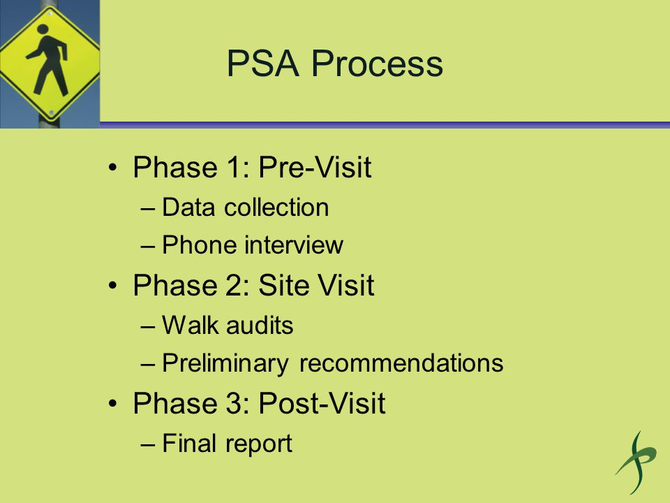 Phase 1: Pre-Visit –Data collection –Phone interview Phase 2: Site Visit –Walk audits –Preliminary recommendations Phase 3: Post-Visit –Final report
