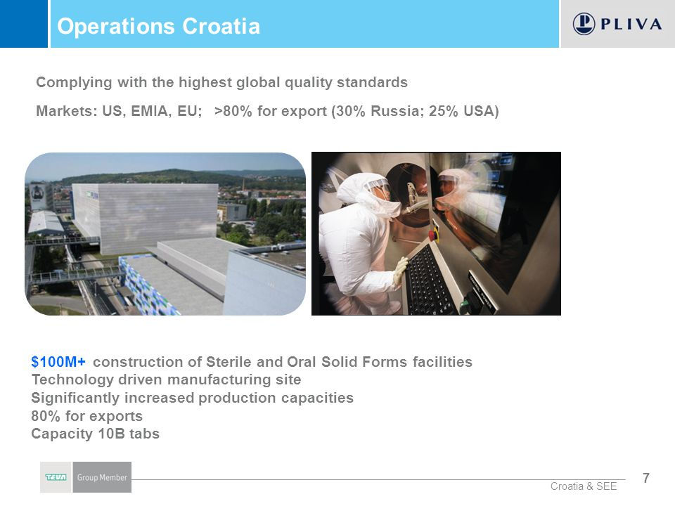 8 TAPI Croatia - Worlds Largest AZI Supplier $100M+ the construction of the state-of-the-art facilities Investment in integrated environmental protection ($20M) Supplying 90 % of AZI demand on regulated markets 100 % increase in production capacities Chemical development center (98% for exports) Markets: US, EMIA, EU, JP, CA, LATAM Croatia & SEE