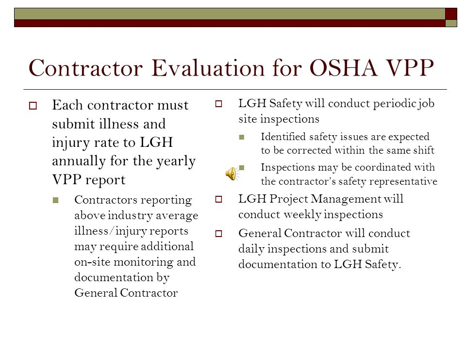 Lancaster General Hospitals Partnership with OSHA LGH is a Star Site through OSHAs Voluntary Protection Program Awarded in 2007 VPP Star Demonstrates