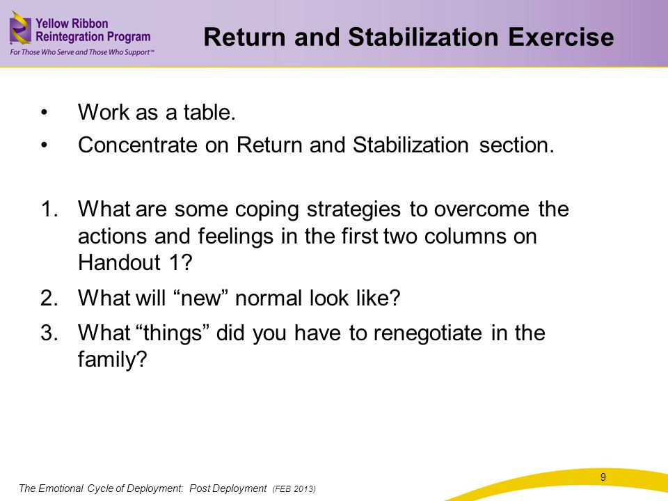The Emotional Cycle of Deployment: Post Deployment (FEB 2013) 9 Return and Stabilization Exercise Work as a table.