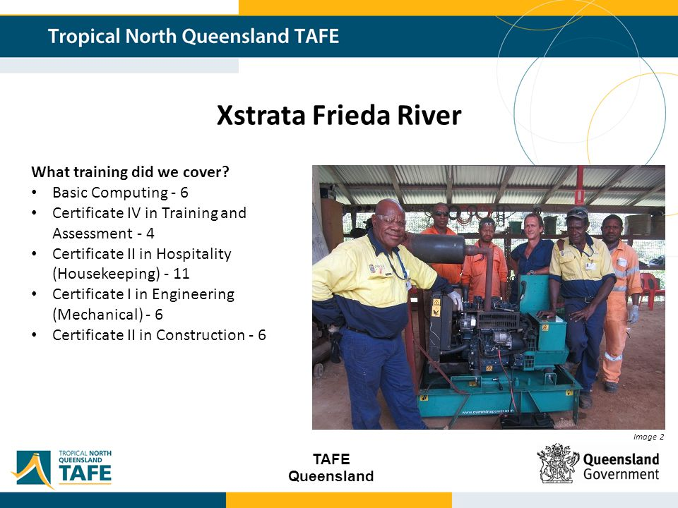 TAFE Queensland Xstrata Frieda River Image 2 What training did we cover.