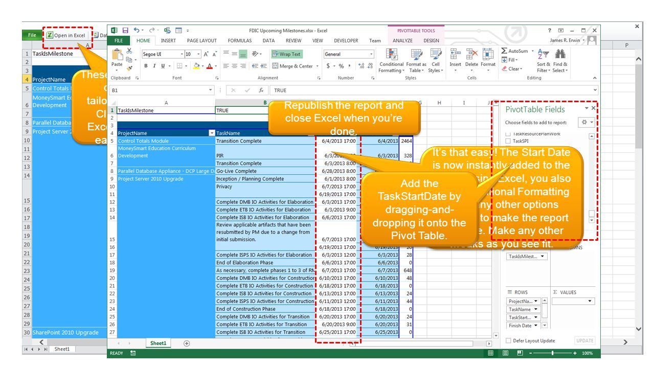 The reports rely on Excel Pivot Tables to slice the data. Via the web, you can filter or sort by any column. E.g. To see upcoming milestones, filter b