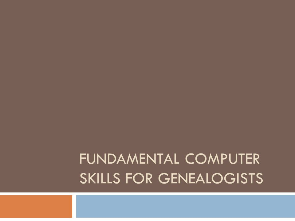 FUNDAMENTAL COMPUTER SKILLS FOR GENEALOGISTS