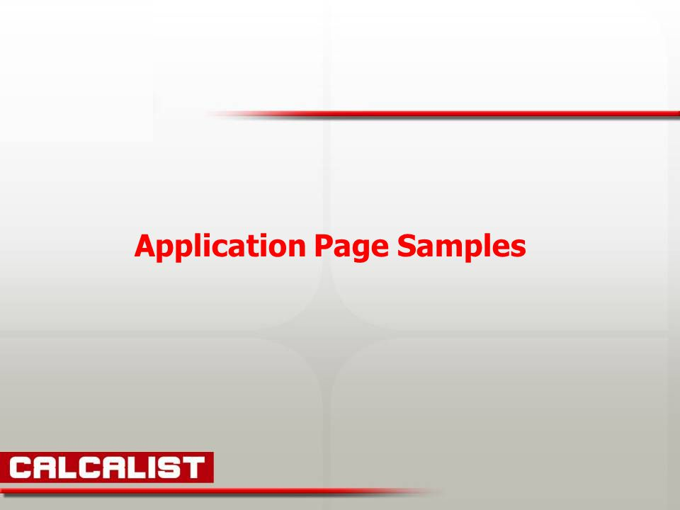 Application Page Samples
