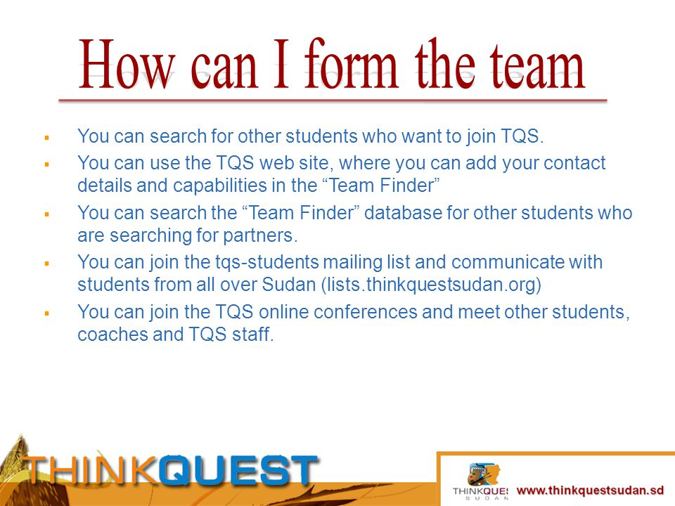 You can search for other students who want to join TQS.