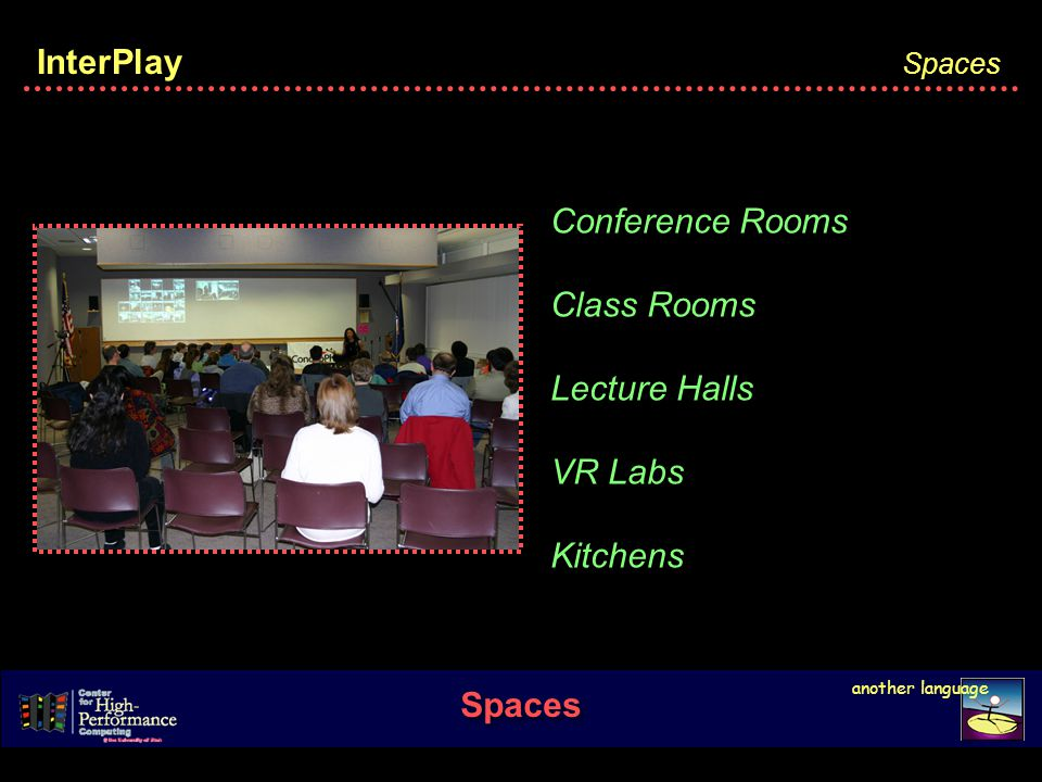 InterPlay Spaces another language Spaces Conference Rooms Class Rooms Lecture Halls VR Labs Kitchens