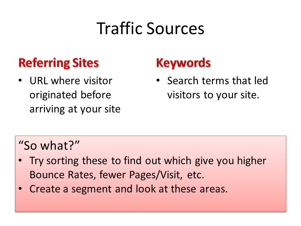 Traffic Sources URL where visitor originated before arriving at your site Search terms that led visitors to your site.