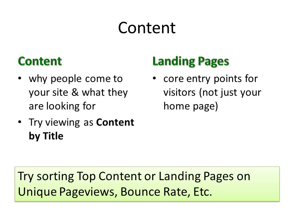 Content why people come to your site & what they are looking for Try viewing as Content by Title core entry points for visitors (not just your home page) Try sorting Top Content or Landing Pages on Unique Pageviews, Bounce Rate, Etc.