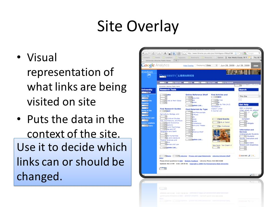 Site Overlay Visual representation of what links are being visited on site Puts the data in the context of the site. Use it to decide which links can