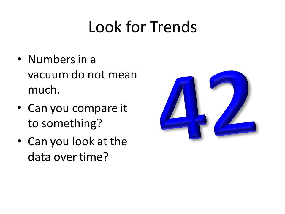 Look for Trends Numbers in a vacuum do not mean much. Can you compare it to something? Can you look at the data over time?