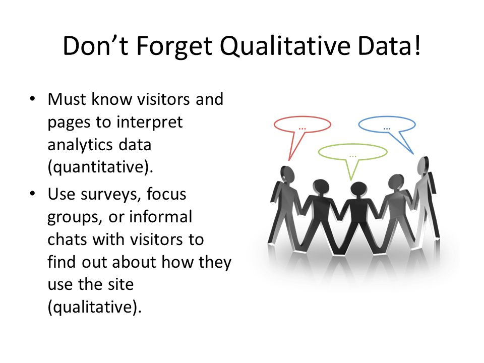 Dont Forget Qualitative Data! Must know visitors and pages to interpret analytics data (quantitative). Use surveys, focus groups, or informal chats wi