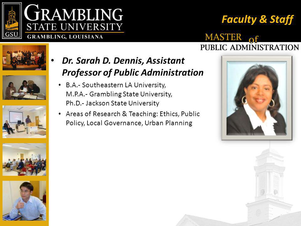 Faculty & Staff Dr. Sarah D.
