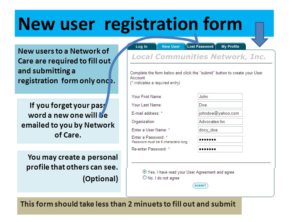 New user registration form New users to a Network of Care are required to fill out and submitting a registration form only once. If you forget your pa