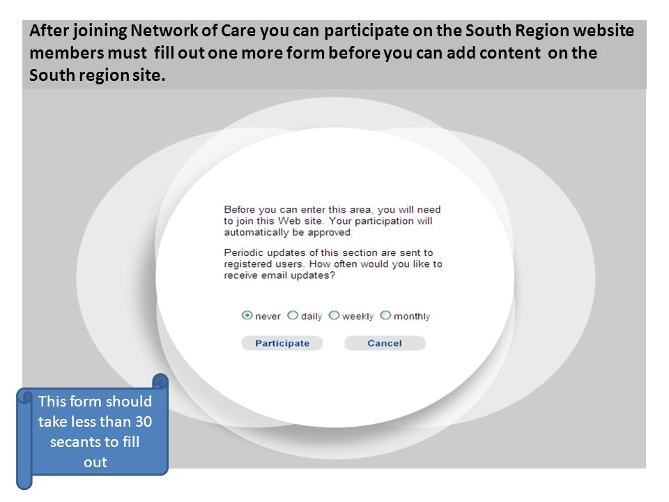 After joining Network of Care you can participate on the South Region website members must fill out one more form before you can add content on the So