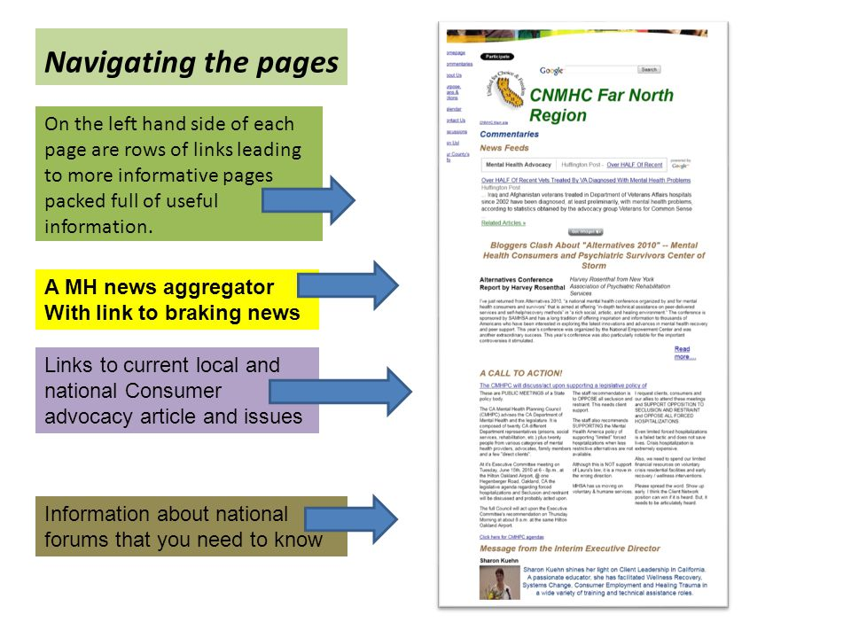 Navigating the pages On the left hand side of each page are rows of links leading to more informative pages packed full of useful information. A MH ne