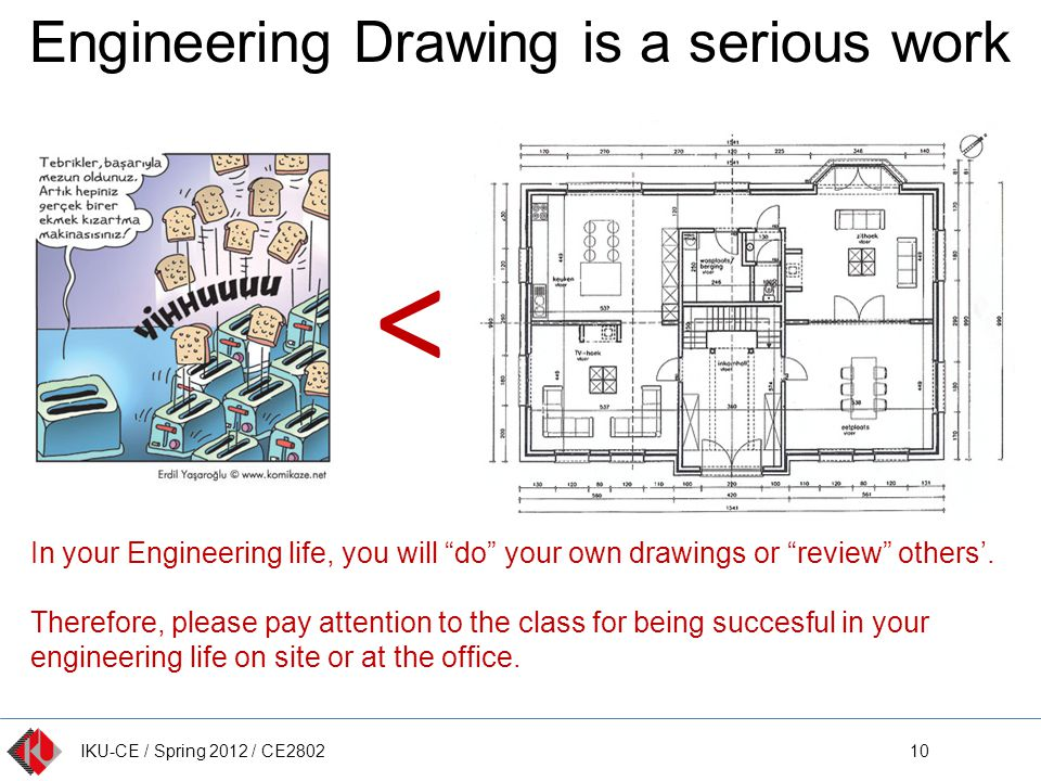 IKU-CE / Spring 2012 / CE2802 Engineering Drawing is a serious work 10 < In your Engineering life, you will do your own drawings or review others.