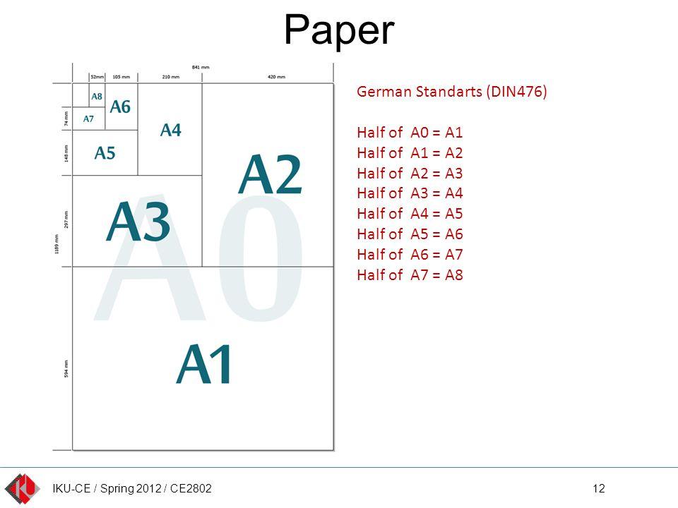 IKU-CE / Spring 2012 / CE2802 Paper 12 German Standarts (DIN476) Half of A0 = A1 Half of A1 = A2 Half of A2 = A3 Half of A3 = A4 Half of A4 = A5 Half of A5 = A6 Half of A6 = A7 Half of A7 = A8