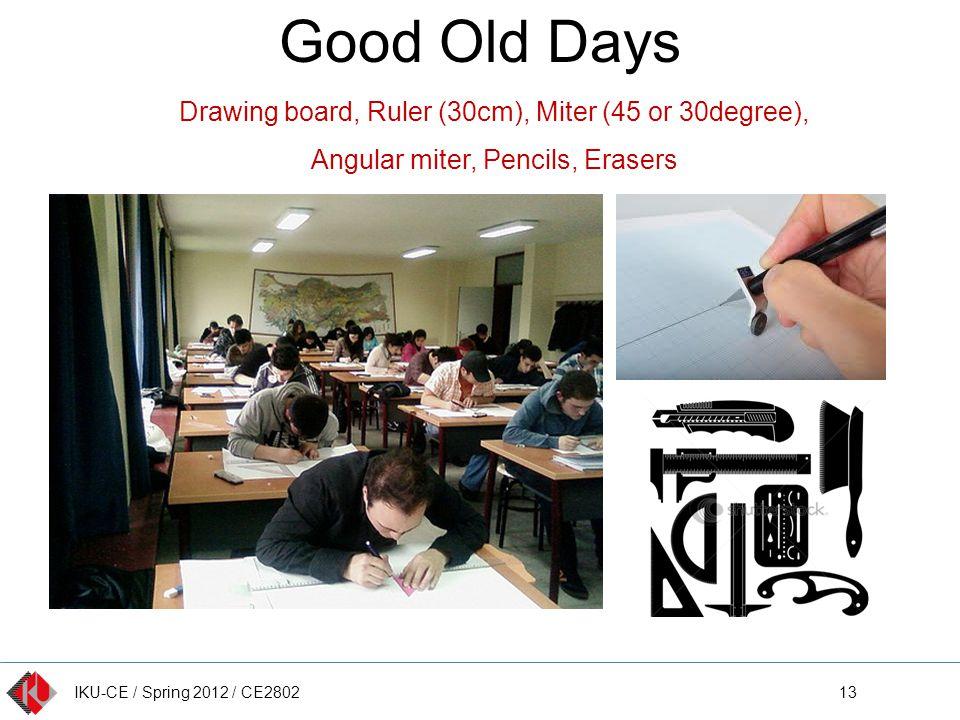IKU-CE / Spring 2012 / CE2802 Good Old Days 13 Drawing board, Ruler (30cm), Miter (45 or 30degree), Angular miter, Pencils, Erasers