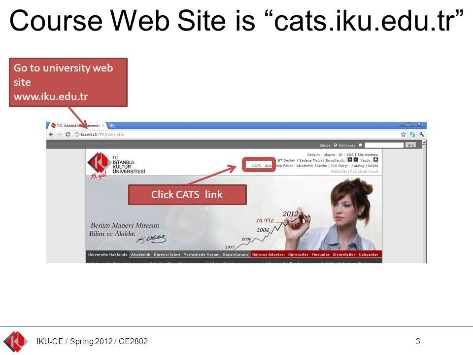 IKU-CE / Spring 2012 / CE2802 Course Web Site is cats.iku.edu.tr 3 Go to university web site www.iku.edu.tr Click CATS link