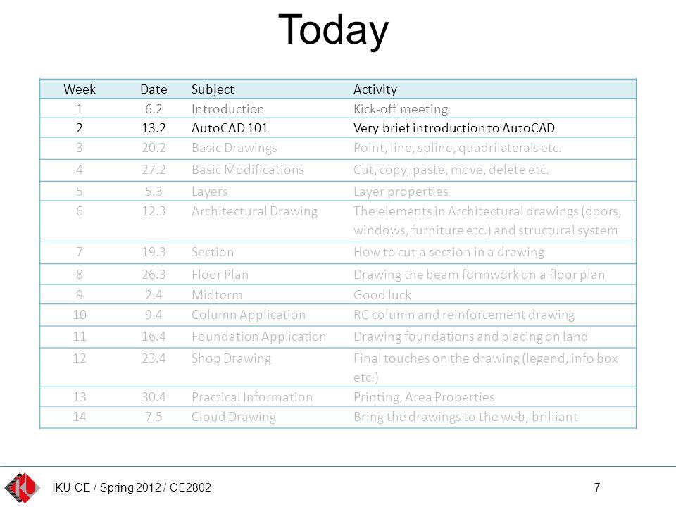 IKU-CE / Spring 2012 / CE2802 AutoCAD Interface 18