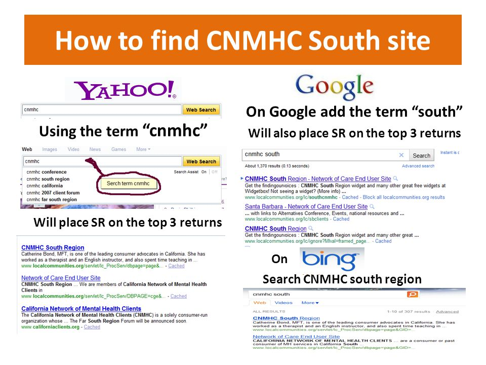 How to find CNMHC South site Using the term cnmhc On Google add the term south Will place SR on the top 3 returns Will also place SR on the top 3 returns On Search CNMHC south region