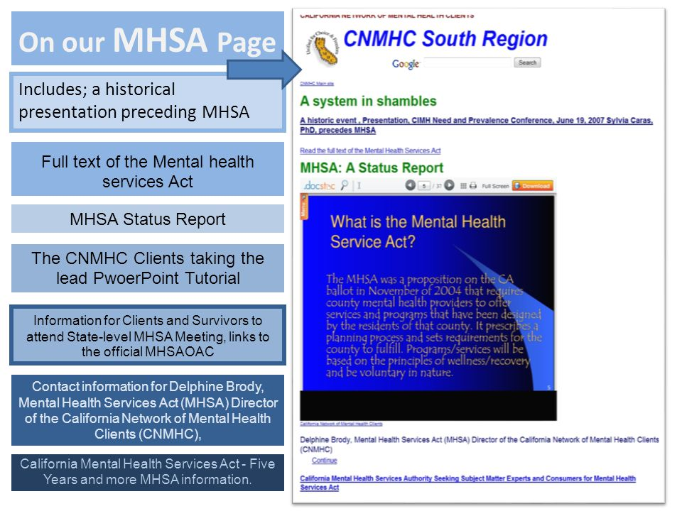 On our MHSA Page Includes; a historical presentation preceding MHSA The CNMHC Clients taking the lead PwoerPoint Tutorial Full text of the Mental health services Act MHSA Status Report Contact information for Delphine Brody, Mental Health Services Act (MHSA) Director of the California Network of Mental Health Clients (CNMHC), Information for Clients and Survivors to attend State-level MHSA Meeting, links to the official MHSAOAC California Mental Health Services Act - Five Years and more MHSA information.