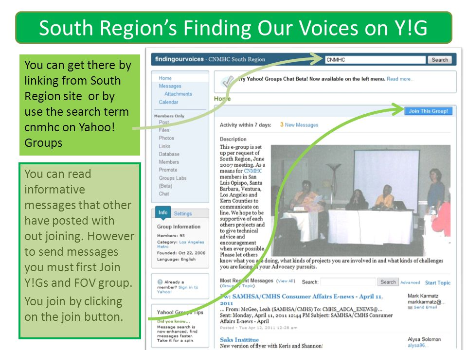 You can get there by linking from South Region site or by use the search term cnmhc on Yahoo! Groups South Regions Finding Our Voices on Y!G You can r