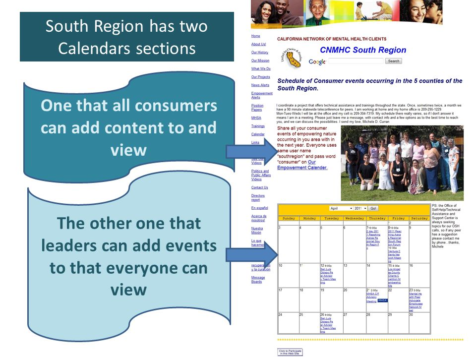 One that all consumers can add content to and view The other one that leaders can add events to that everyone can view South Region has two Calendars sections