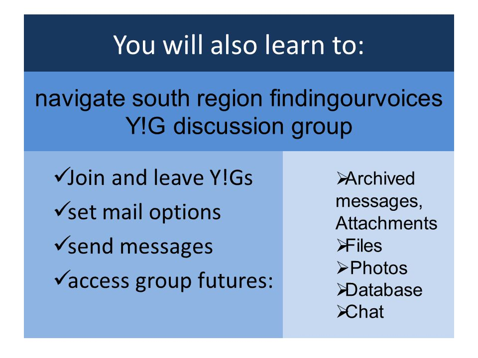 You will also learn to: Join and leave Y!Gs set mail options send messages access group futures: Archived messages, Attachments Files Photos Database