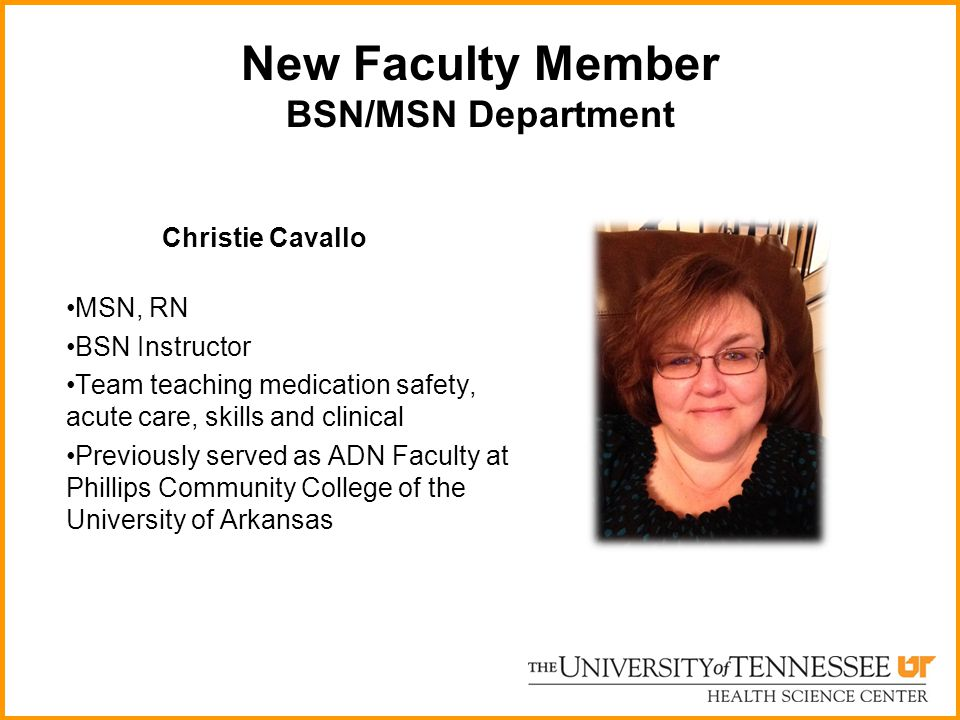 New Faculty Member BSN/MSN Department Christie Cavallo MSN, RN BSN Instructor Team teaching medication safety, acute care, skills and clinical Previou