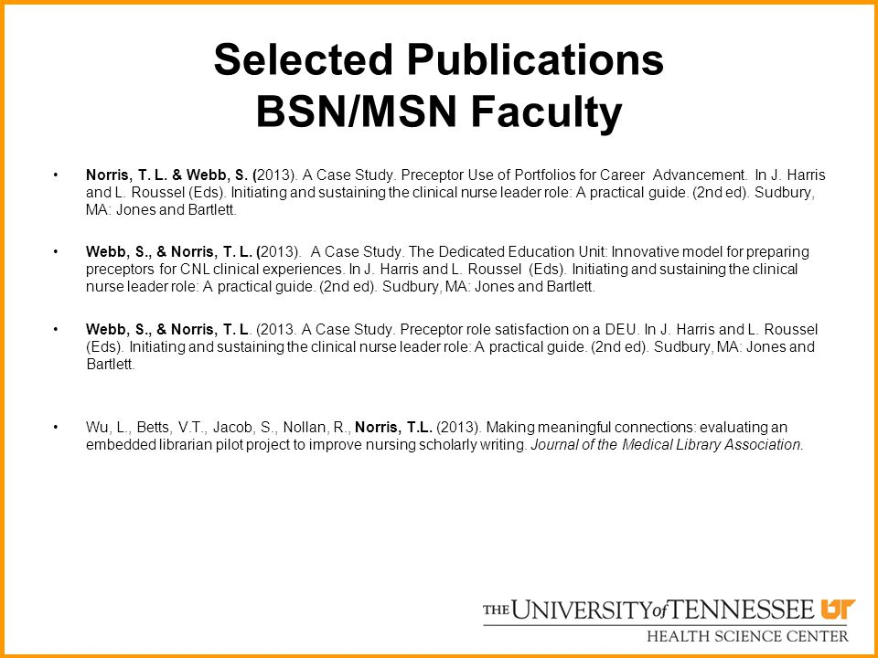 Selected Publications BSN/MSN Faculty Norris, T.L.