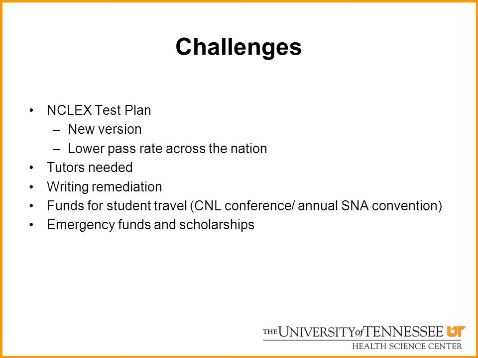 Challenges NCLEX Test Plan –New version –Lower pass rate across the nation Tutors needed Writing remediation Funds for student travel (CNL conference/ annual SNA convention) Emergency funds and scholarships