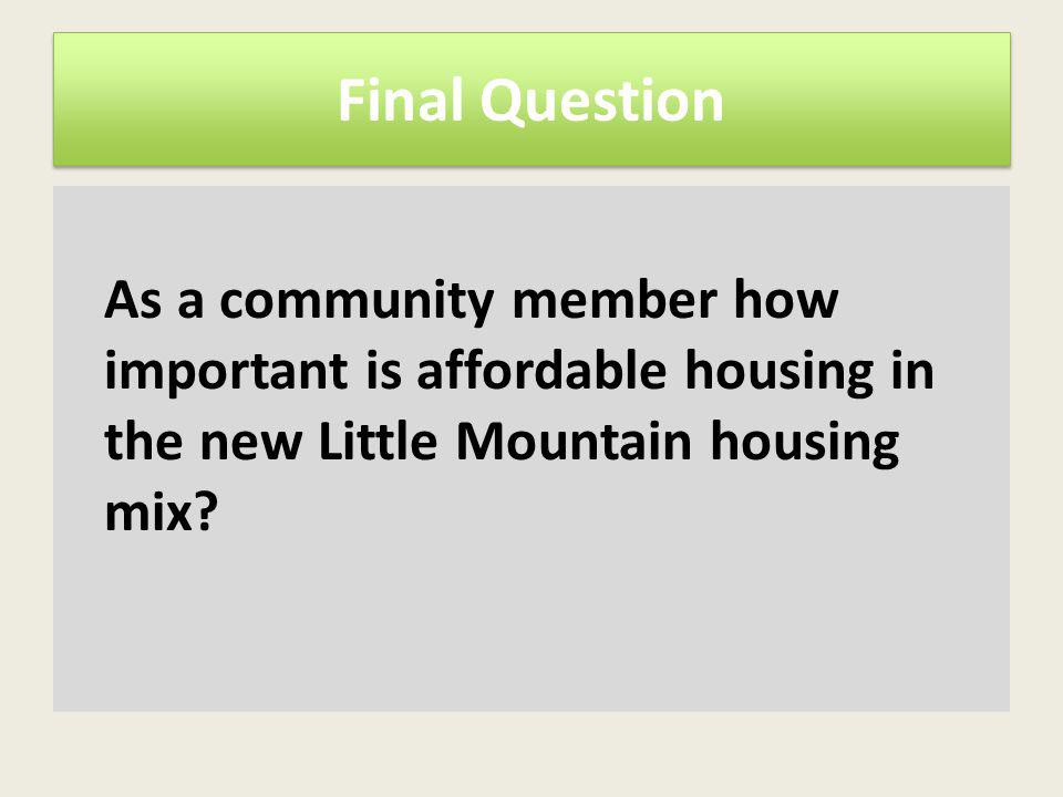 Final Question As a community member how important is affordable housing in the new Little Mountain housing mix?