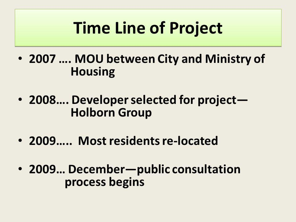 Time Line of Project 2007 …. MOU between City and Ministry of Housing 2008…. Developer selected for project Holborn Group 2009….. Most residents re-lo