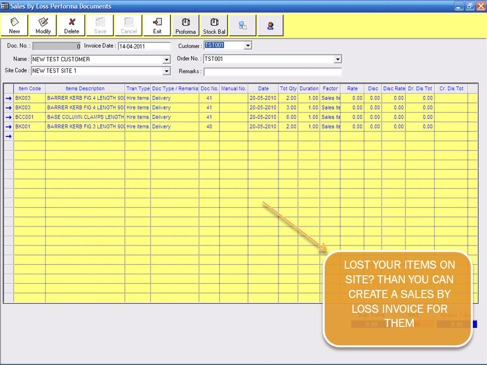 LOST YOUR ITEMS ON SITE THAN YOU CAN CREATE A SALES BY LOSS INVOICE FOR THEM