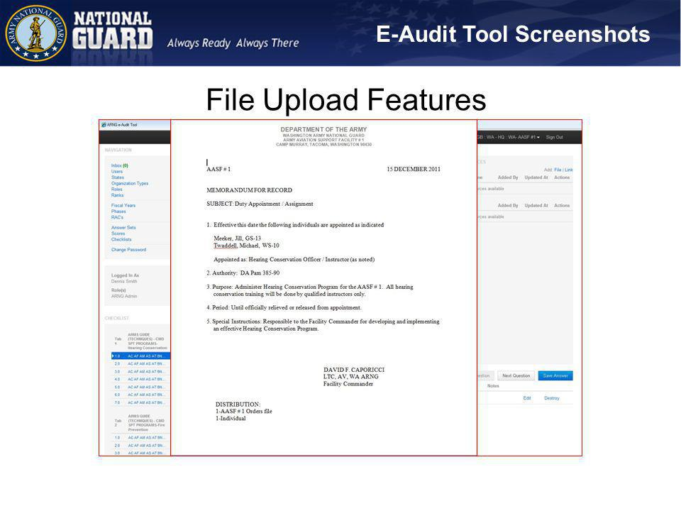 E-Audit Tool Screenshots File Upload Features