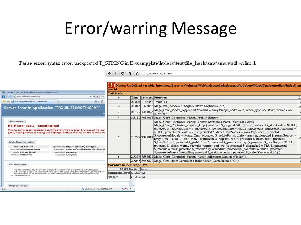 Error/warring Message
