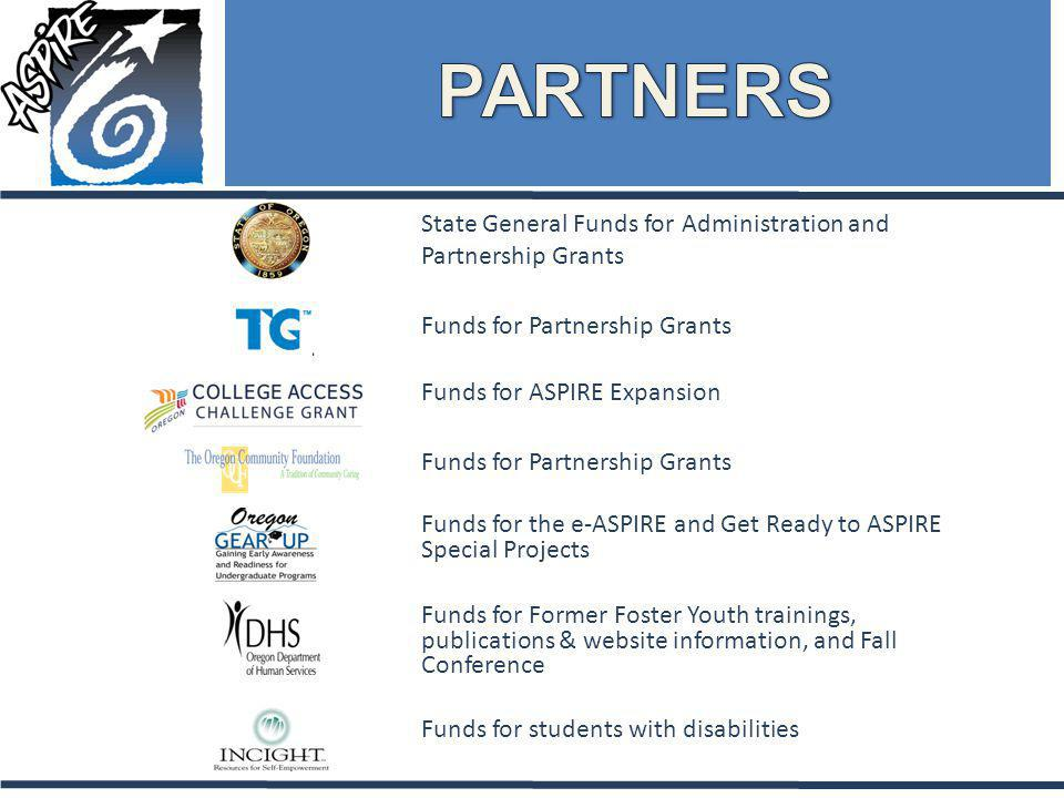 State General Funds for Administration and Partnership Grants Funds for Partnership Grants Funds for the e-ASPIRE and Get Ready to ASPIRE Special Projects Funds for Former Foster Youth trainings, publications & website information, and Fall Conference Funds for Partnership Grants Funds for students with disabilities Funds for ASPIRE Expansion