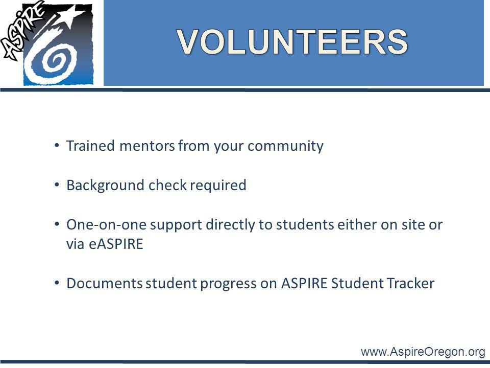 www.AspireOregon.org Trained mentors from your community Background check required One-on-one support directly to students either on site or via eASPIRE Documents student progress on ASPIRE Student Tracker