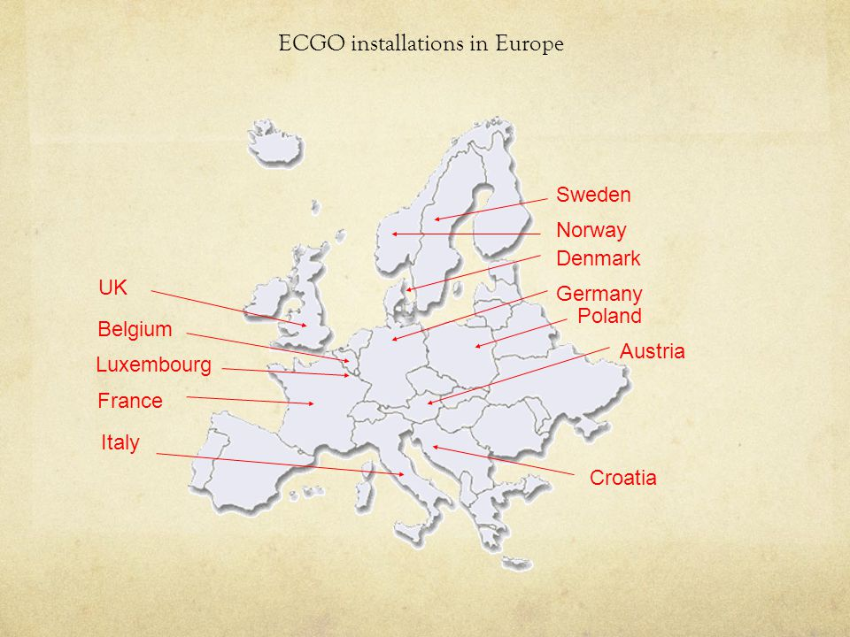 ECGO installations in Europe UK France Norway Sweden Denmark Luxembourg Austria Germany Belgium Italy Croatia Poland
