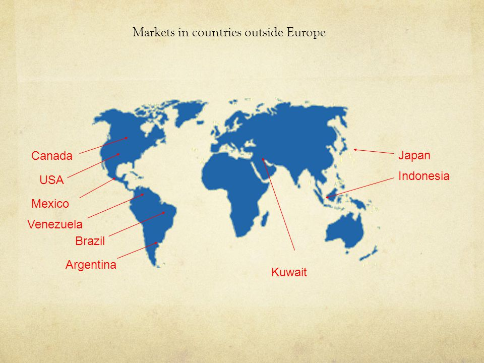 Markets in countries outside Europe USA Japan Venezuela Mexico Canada Indonesia Argentina Kuwait Brazil