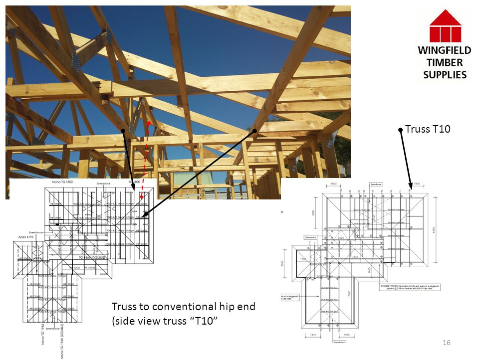 Truss T10 Truss to conventional hip end (side view truss T10 16