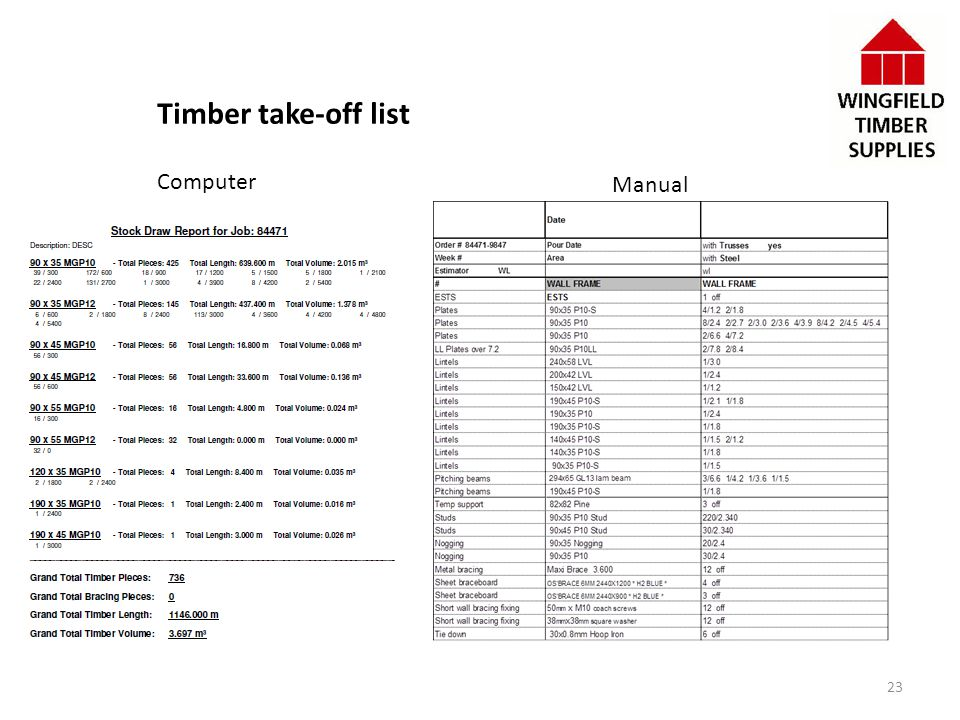 Timber take-off list Computer Manual 23