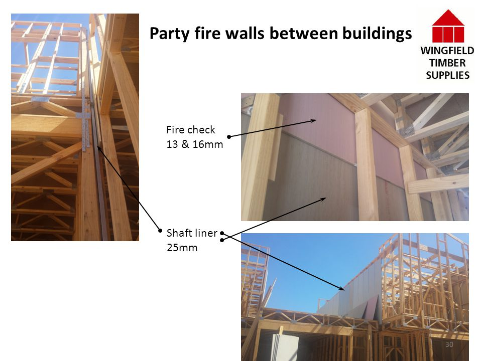 Party fire walls between buildings Fire check 13 & 16mm Shaft liner 25mm 30